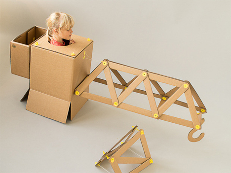 cardboard strawbees crane