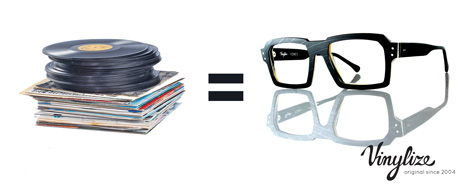 handmade recycled vinyl records eyewear frames