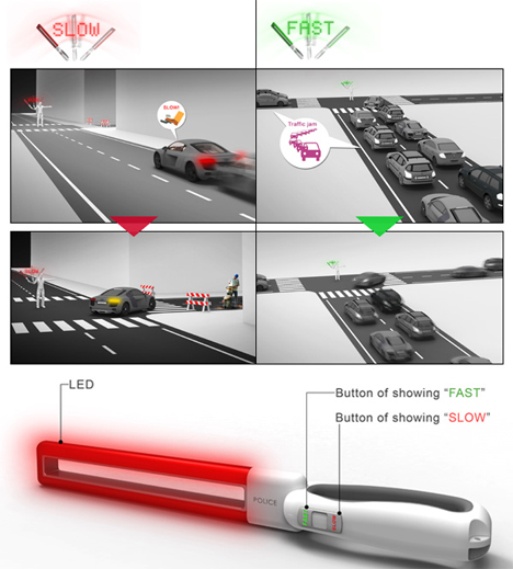 led traffic guiding baton