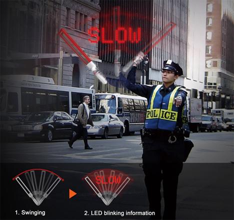 traffic guiding lighted baton