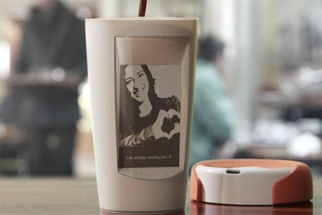 display changing coffee mug