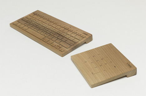 wooden keyboard and touch pad