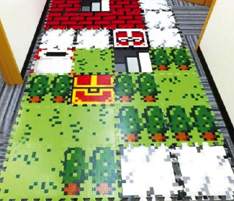 8-bit video game floor mat tiles