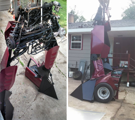car turned into giant transformer sculpture