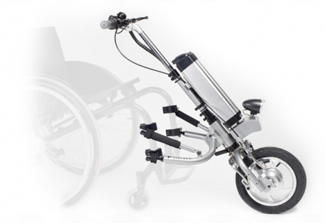 electric attachment converts manual wheelchair to electric wheelchair
