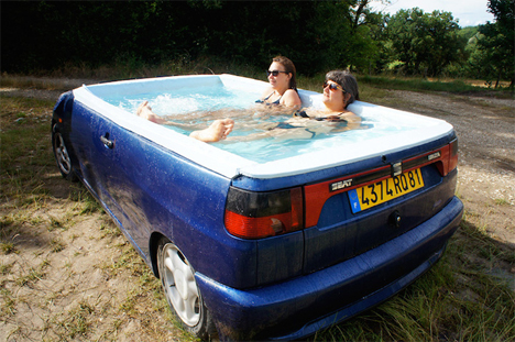 car converted into jacuzzi