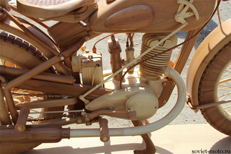 carpenter hand carved wooden motorcycle