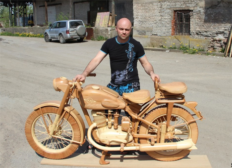 carved wooden motorcycle