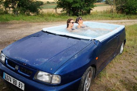 convertible car hot tub