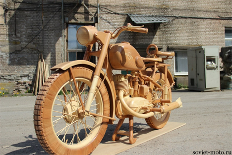 detailed hand carved wooden motorcycle