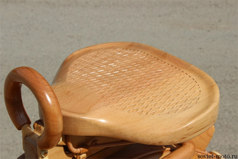 hand carved wooden motorcycle seat