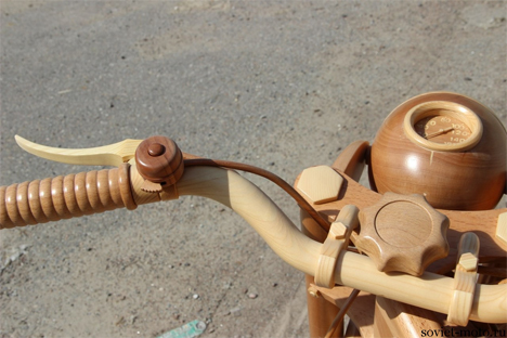 handmade carved wooden motorcycle