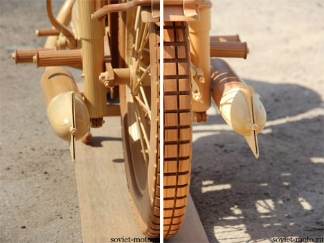 incredibly detailed wooden carved motorcycle