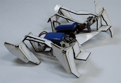 origami self-assembling walking robot