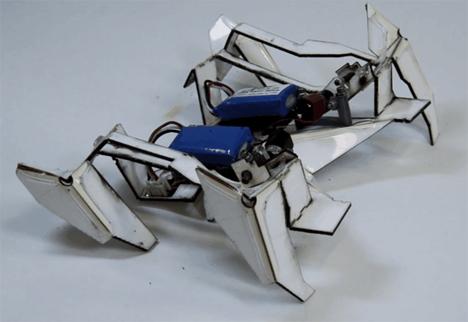 origami self-assembling walking robot