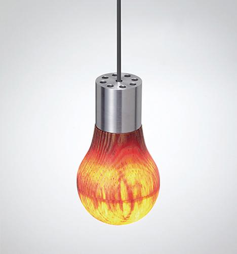 pine wooden light bulb