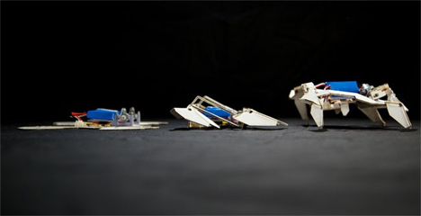 pop-up self-assembling robots