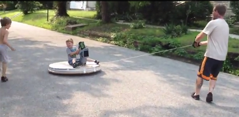 rope-steered homemade hovercraft