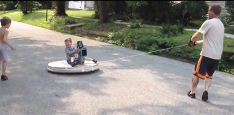 rope-steered homemade hovercraft