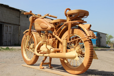 russian hand carved wooden motorcycle