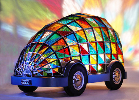 driverless stained glass car