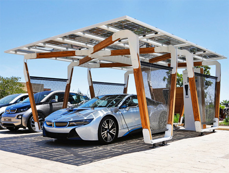 bmw electric vehicle personal solar charging carport