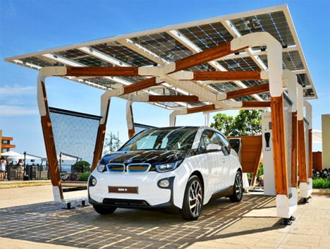 bmw i3 and i8 ev solar charging station