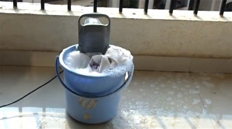 portable bucket mounted washing machine