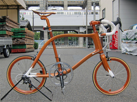 4 handmade wooden bikes