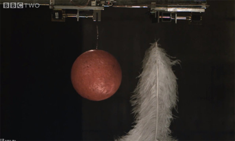 bowling ball and feathers falling in a vacuum