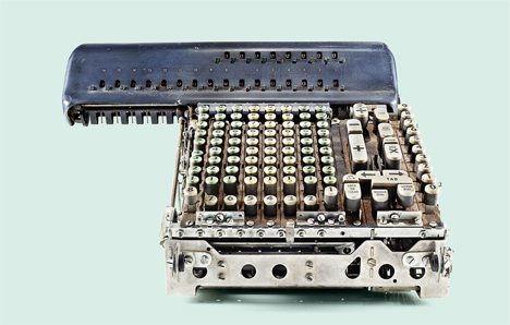 2 insides of old calculators