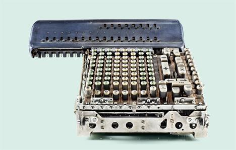 2 insides of old calculators