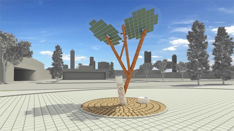 solar tree phone charger