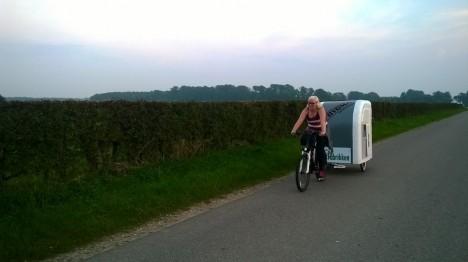bike camper being towed