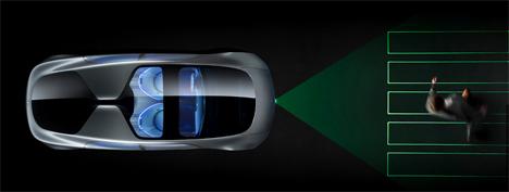 projected crosswalk self driving mercedes
