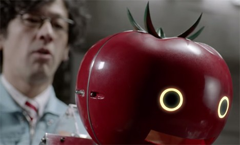 back riding robot feeds runners tomatoes