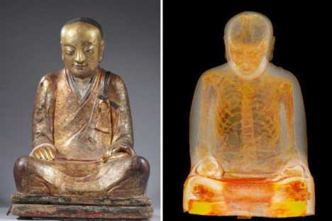 statue contains mummified monk