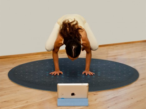 yoga on interactive tera mat