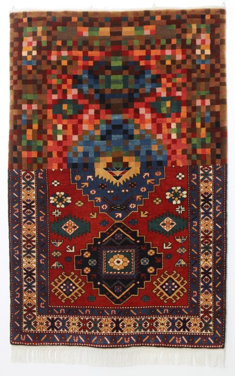 handmade pixelated real rug