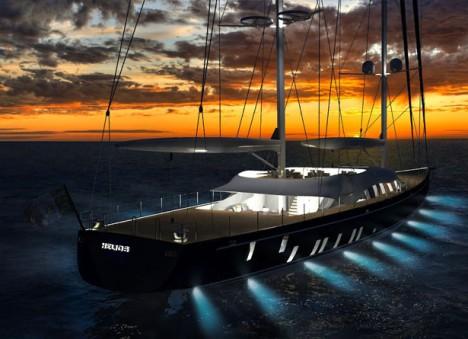 solar ship at night