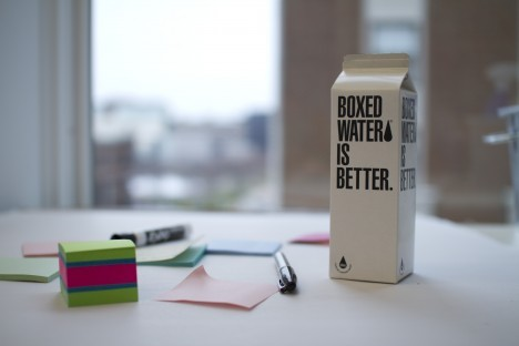 boxed water on table