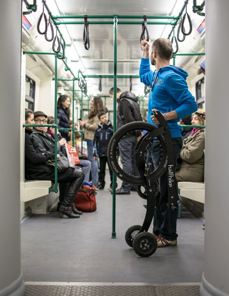 half bike subway car
