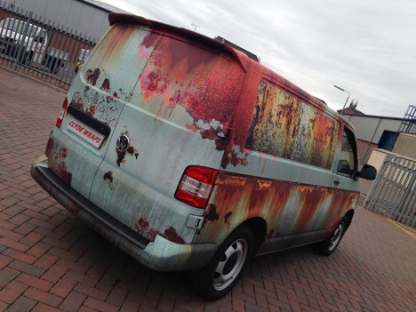 rusted van behind