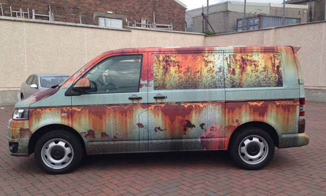 Rusty wraps stickers camouflage new car as old clunker gadgets science technology