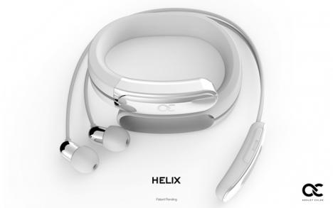 helix bluetooth earbud wristband