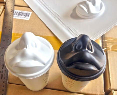 face shaped coffee cup lids