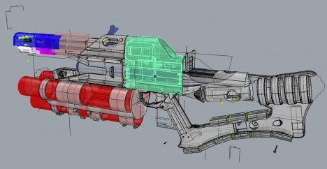 3d rail gun toy model