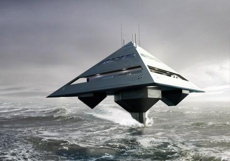futuristic concept yacht