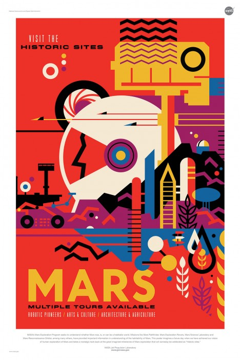 mars abstract travel poster